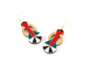 FORM047 Earrings - Gold, Orange, Teal