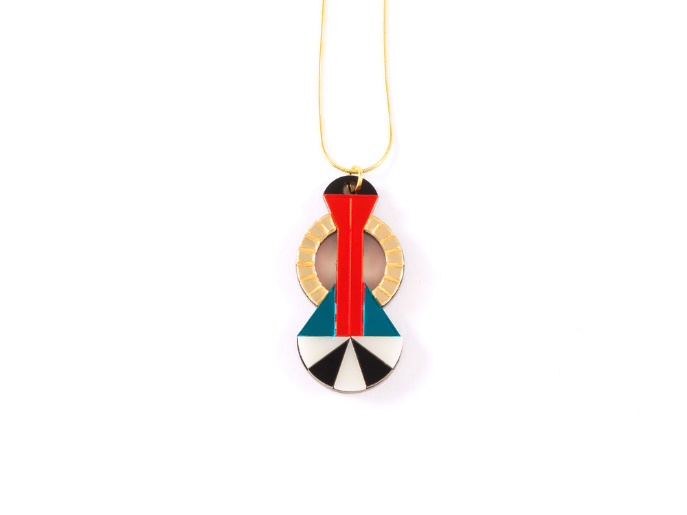 FORM048 Necklace - Gold, Orange, Teal