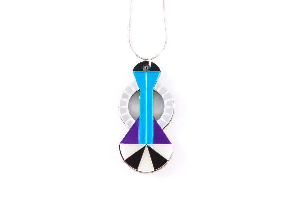 FORM048 Necklace - Silver, Skyblue, Mirror purple