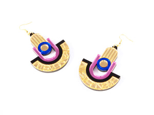FORM049 Earrings - Gold, Babypink, Blue