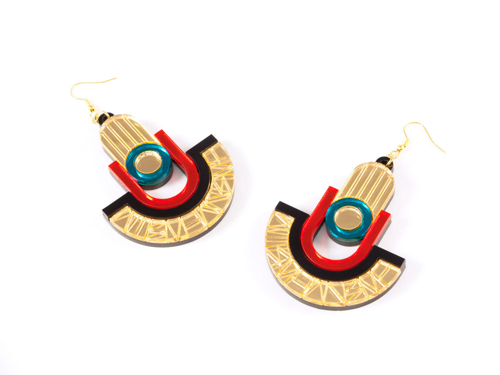 FORM049 Earrings - Gold, Orange, Teal