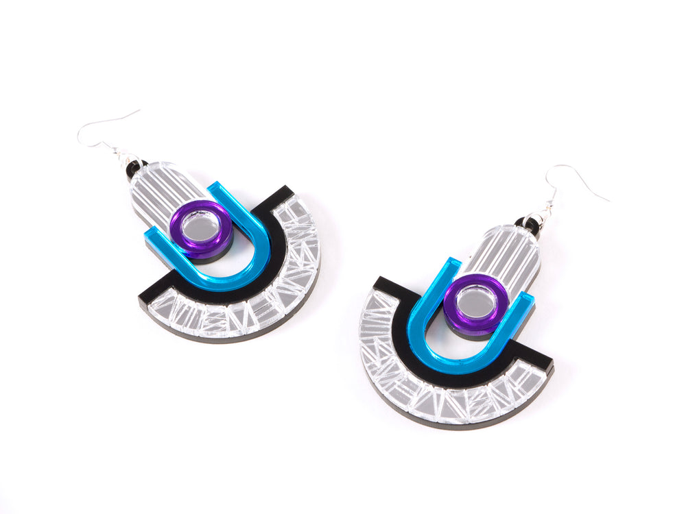 FORM049 Earrings - Silver, Skyblue, Mirror purple