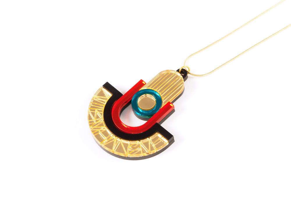 FORM050 Necklace - Gold, Orange, Teal