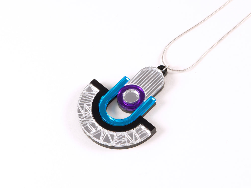 FORM050 Necklace - Silver, Skyblue, Mirror purple