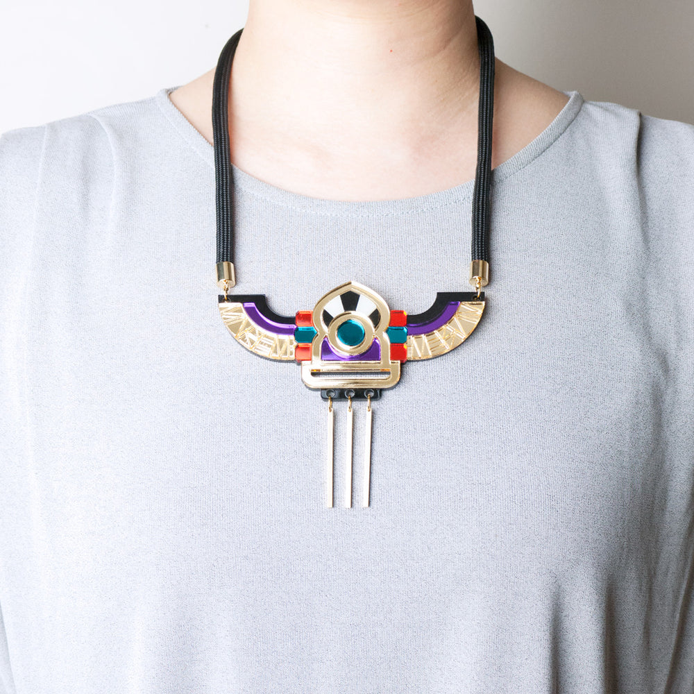FORM051 Necklace - Gold, Orange, Teal, Mirror purple