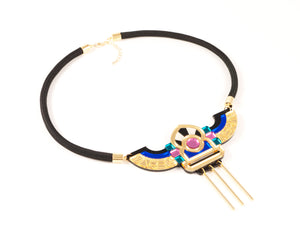 FORM051 Necklace - Gold, Teal, Babypink, Blue