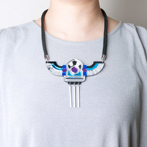 FORM051 Necklace - Silver, Blue, Mirror purple, Skyblue
