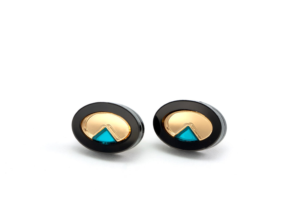 FORM053 OJO DE DIOS I Stud Earrings - Black, Gold, Teal