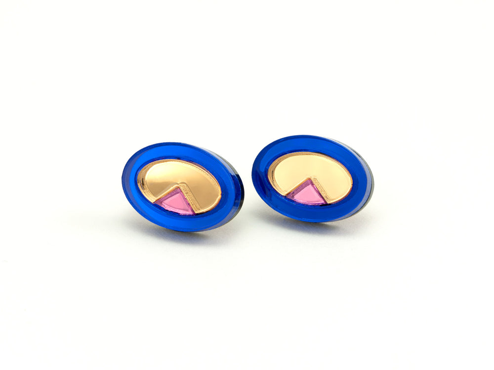 FORM053 OJOS DE DIOS I Stud Earrings - Blue, Gold, Babypink