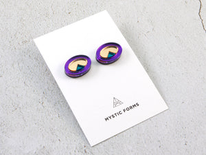 FORM053 OJO DE DIOS I Stud Earrings - Purple Gold, Teal