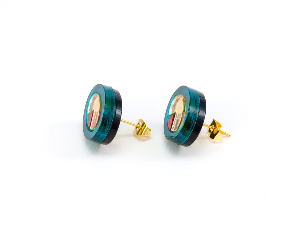 FORM053 OJO DE DIOS I Stud Earrings - Teal, Gold, Orange