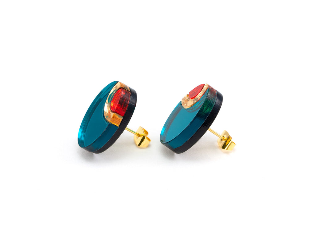 FORM054 OJO DE DIOS II Stud Earrings - Teal, Gold , Orange