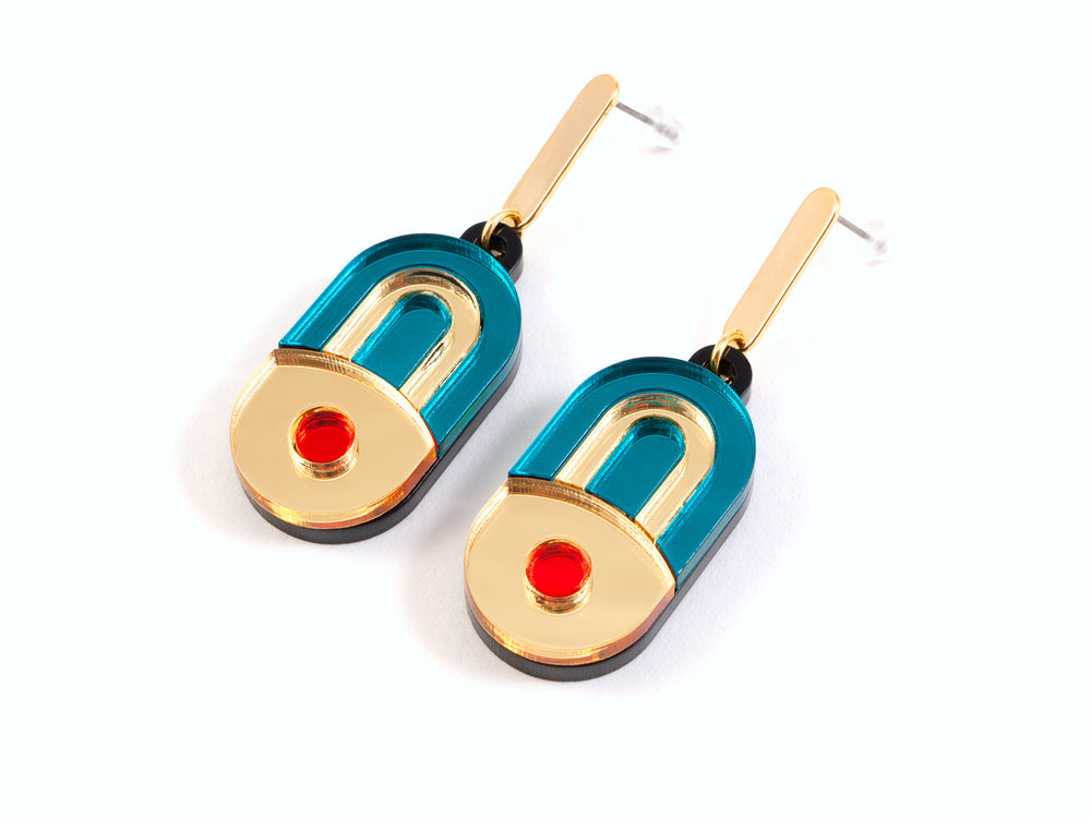 FORM056 EK Stud Earrings - Teal