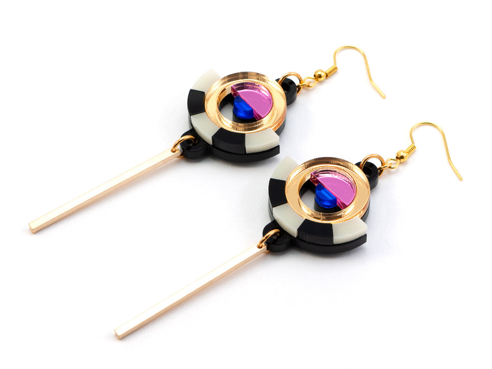 FORM060 ESTRELLA I Drop Earrings - Gold, Babypink, Blue