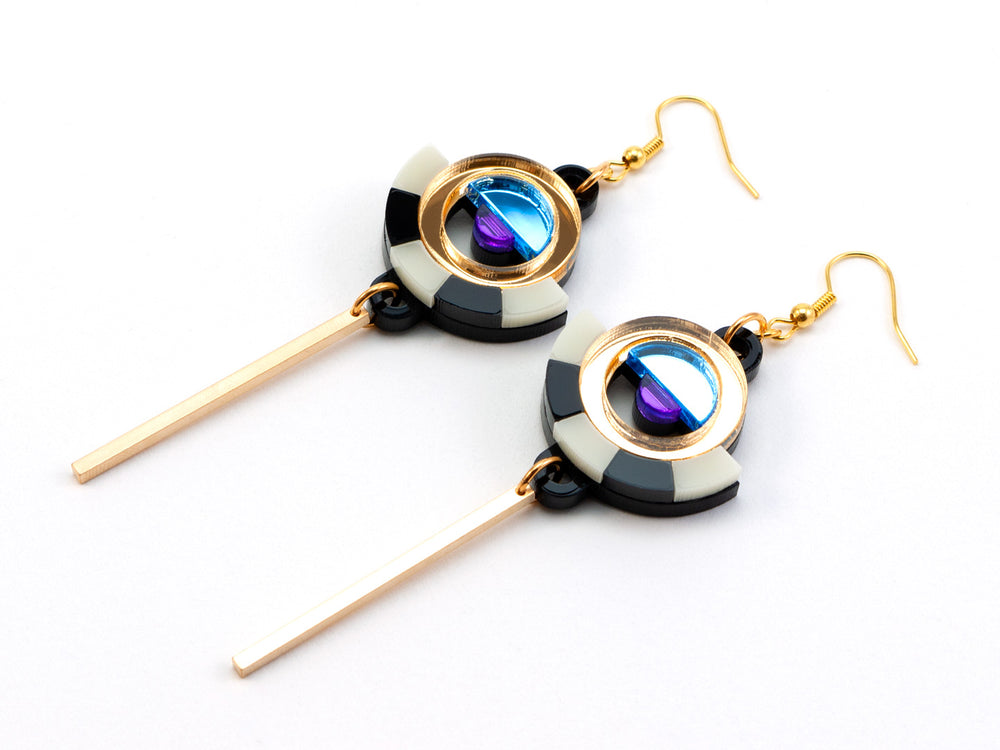 FORM060 ESTRELLA I Drop Earrings - Gold, Ice Blue, Purple