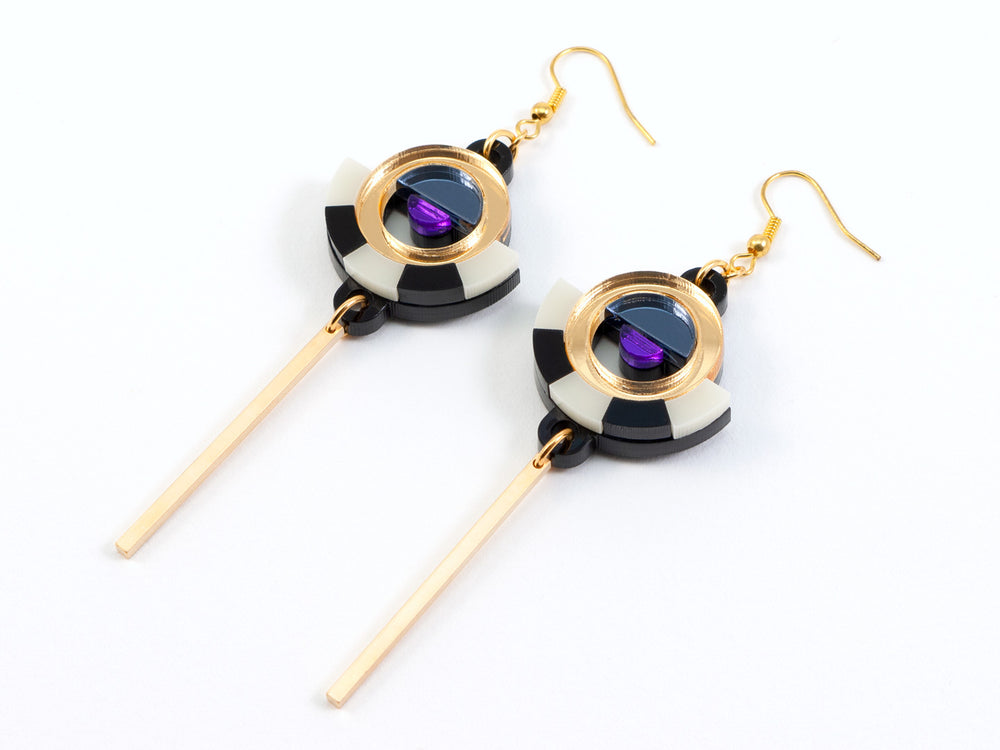 FORM060 ESTRELLA I Drop Earrings - Gold, Slate Grey, Purple