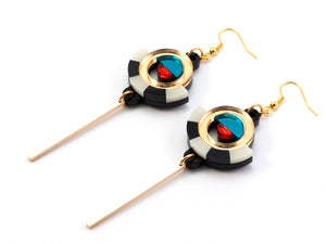 FORM060 ESTRELLA I Drop Earrings - Gold, Teal, Orange