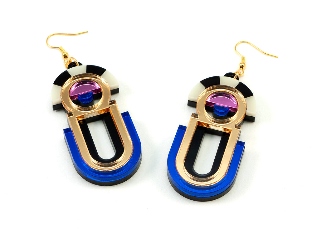FORM061 ESTRELLA II Drop Earrings - Gold, Babypink, Blue
