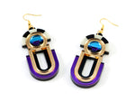 FORM061 ESTRELLA II Drop Earrings - Gold, Ice Blue, Purple