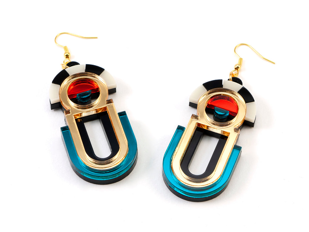 FORM061 ESTRELLA II Drop Earrings - Gold, Teal, Orange