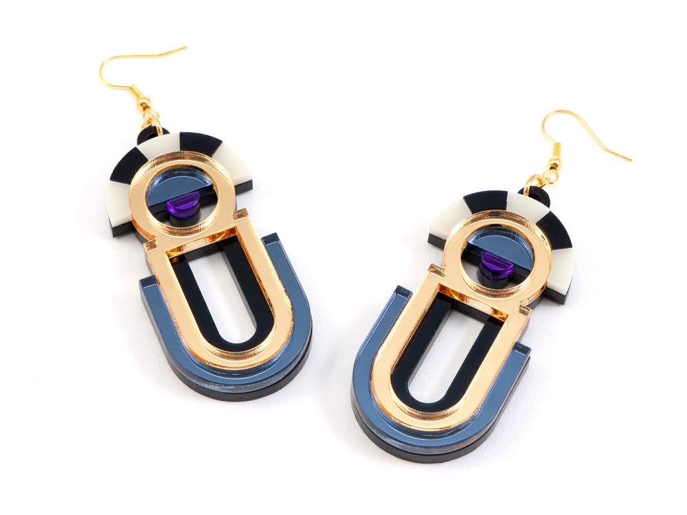 FORM061 ESTRELLA II Drop Earrings - Gold, Slate Grey, Purple