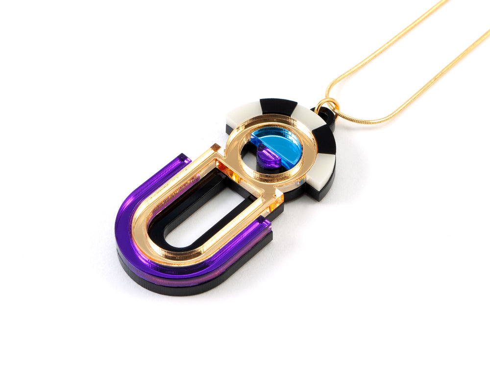 FORM064 ESTRELLA II Necklace - Gold, Ice Blue, Purple