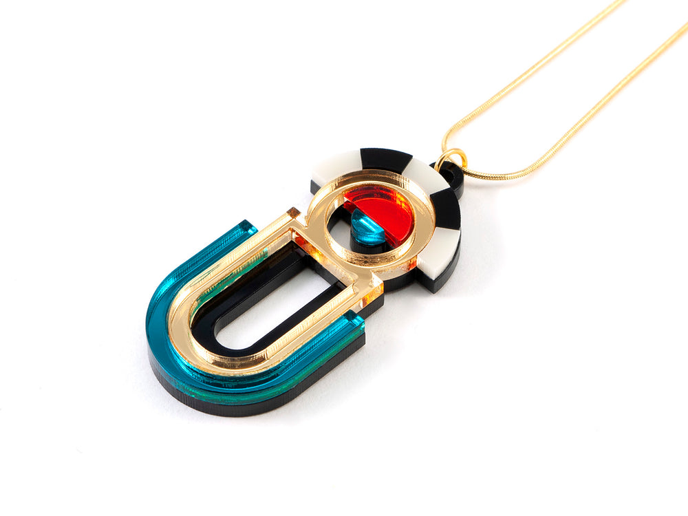 FORM064 ESTRELLA II Necklace - Gold, Teal, Orange