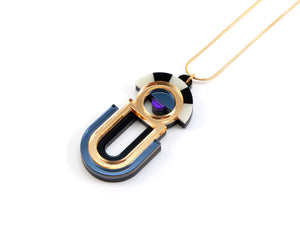 FORM064 ESTRELLA II Necklace - Gold, Slate Grey, Purple