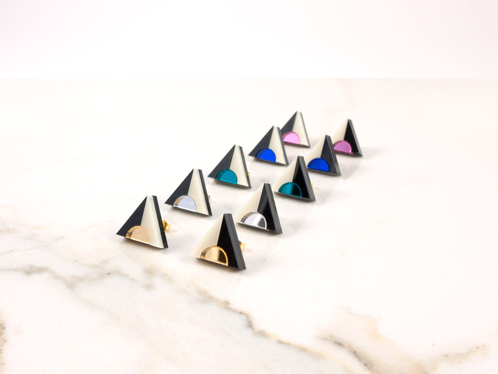 FORM020 Earrings - Teal, Black, Ivory