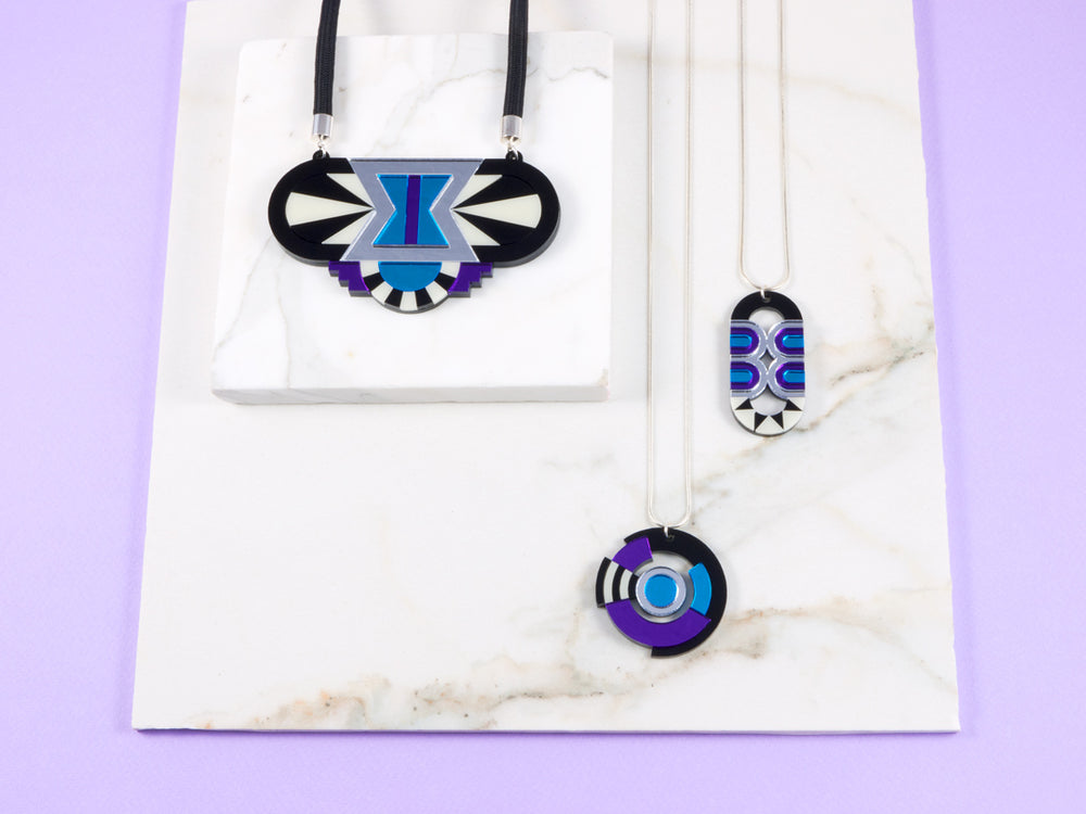 FORM026 Necklace - Silver, Skyblue, Purple