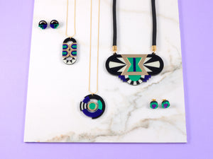 FORM026 Necklace - Gold, Purple, Green