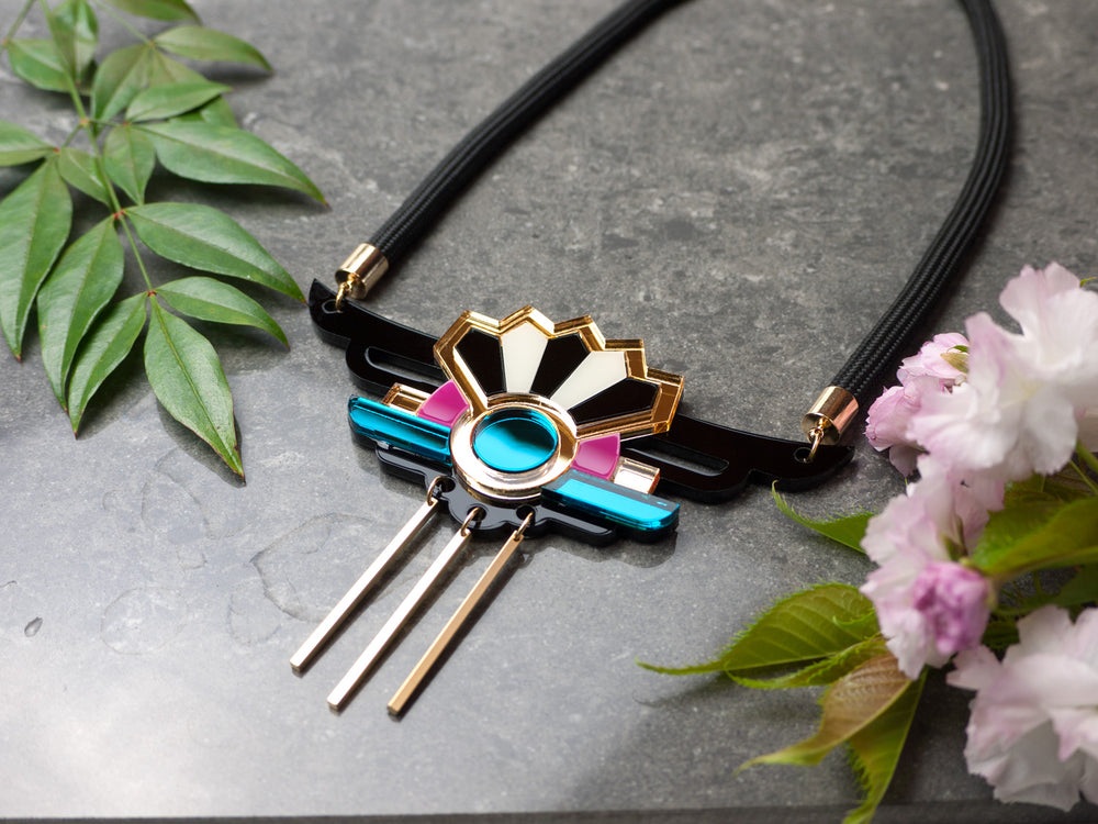 FORM038 Necklace - Gold, Teal, Pink