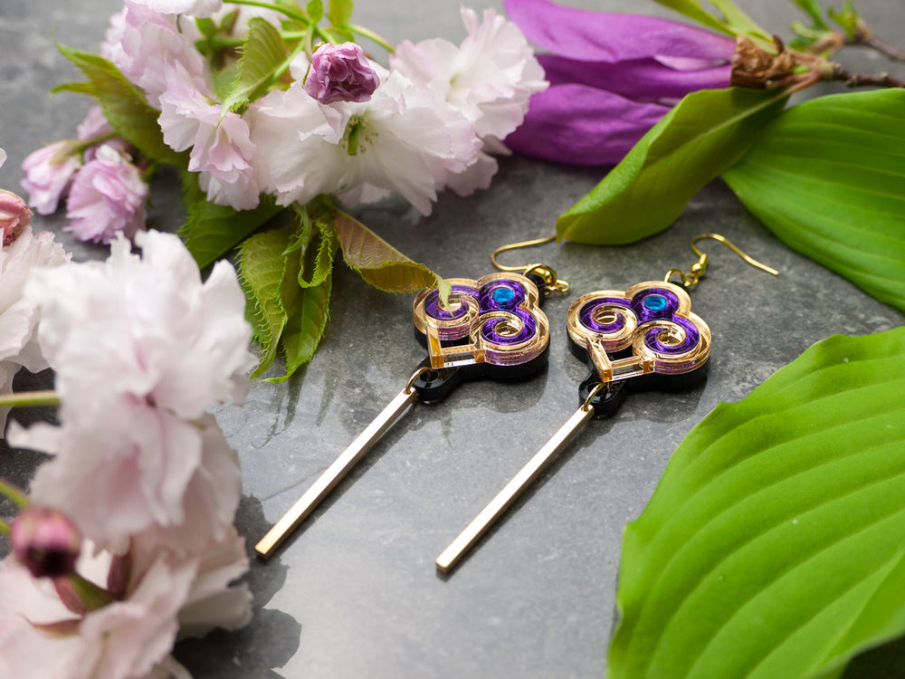 FORM035 Earrings - Gold, Purple, Skyblue