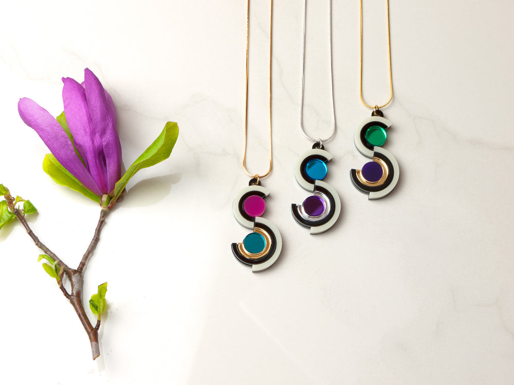 FORM037 Necklace - Silver, Skyblue, Purple