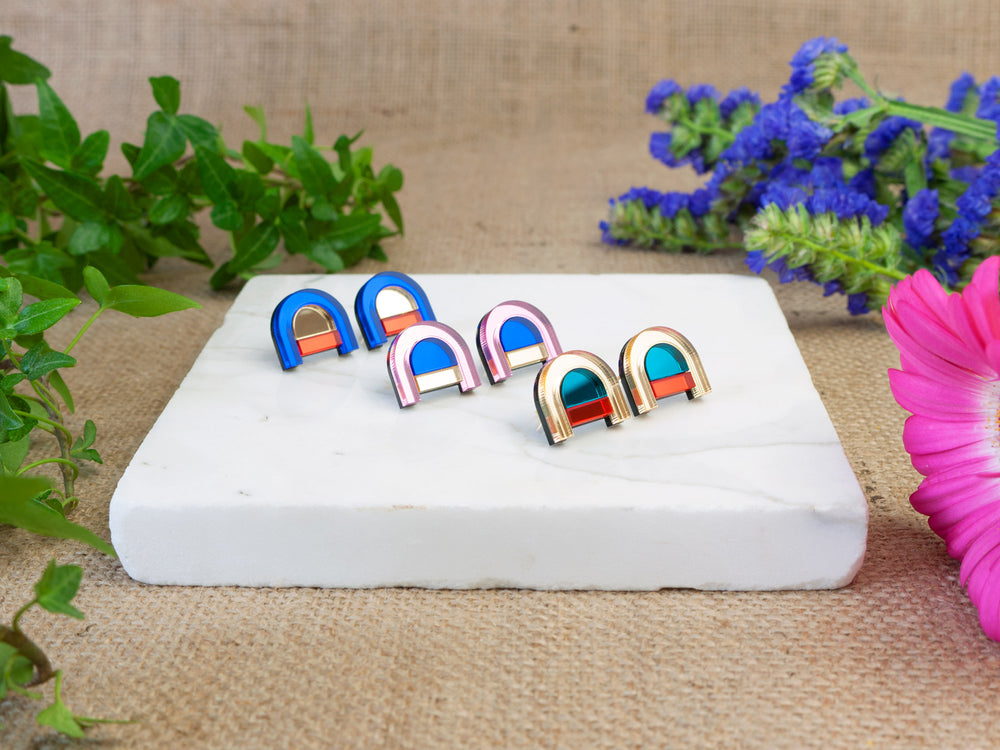 FORM040 Earrings - Babypink, Blue, Gold