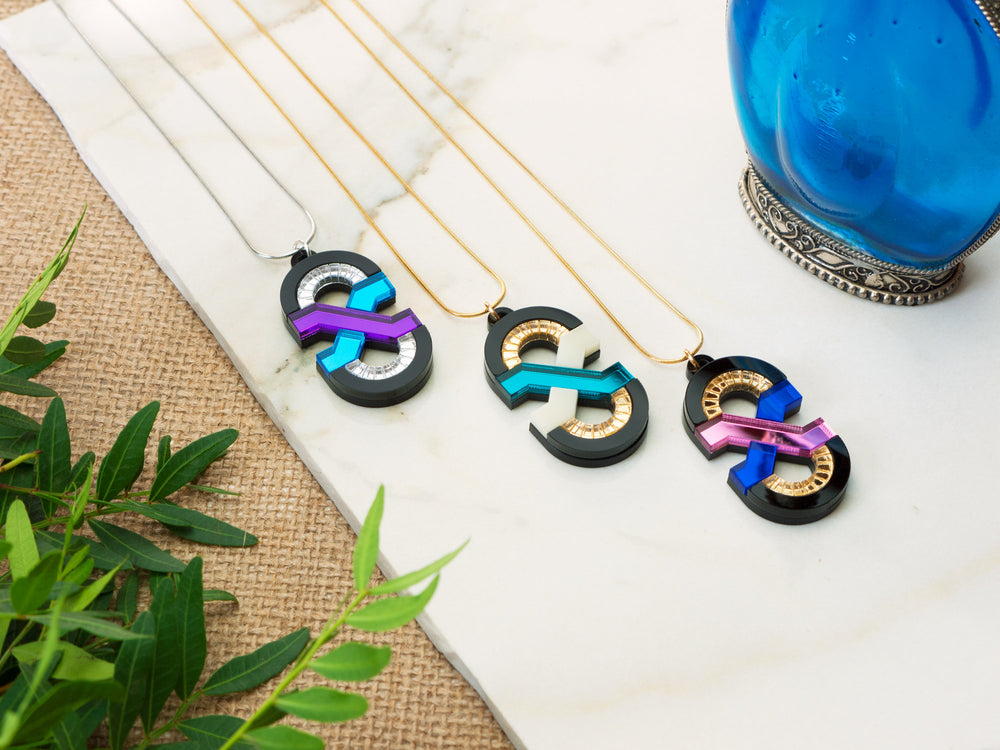 FORM042 Necklace - Mirror Purple, Skublue, Silver