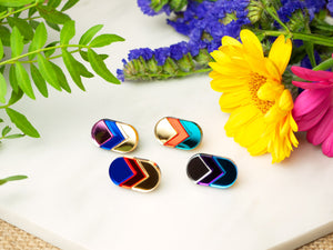FORM044 Earrings - Gold, Orange, Blue