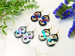 FORM041 Earrings - Babypink, Blue, Gold