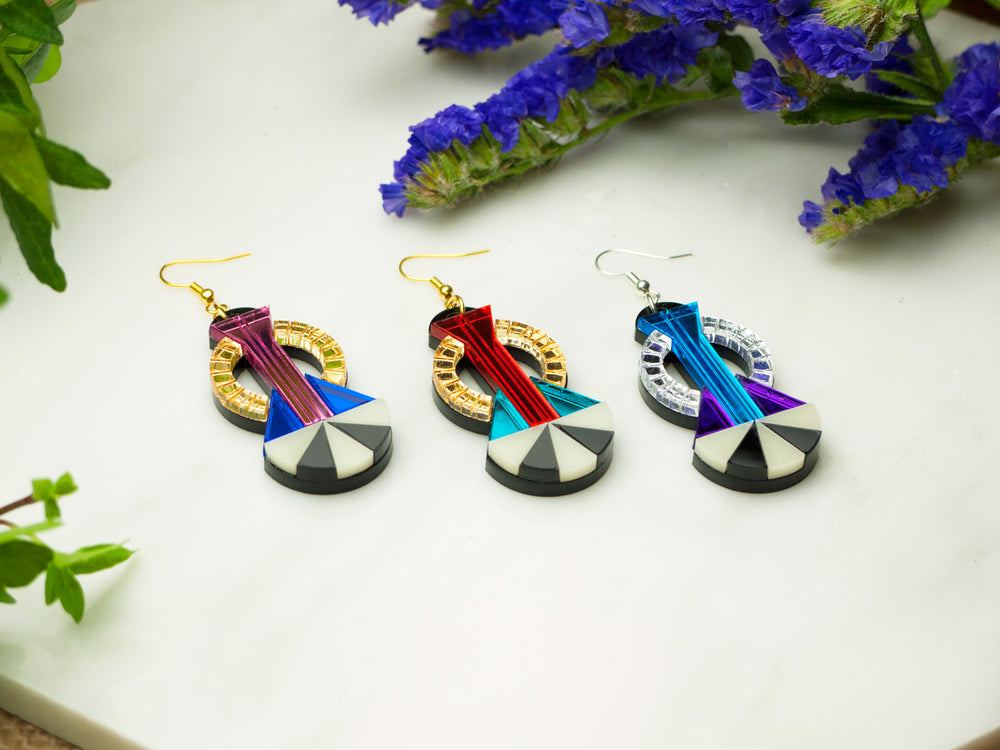 FORM047 Earrings - Gold, Babypink, Blue
