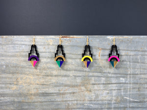 FORM001 Earrings - Gold, Green, Purple