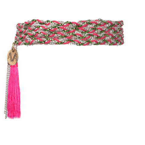 wrap bracelet made of Nylon, Lurex, nickel free chain, completed by a neon pink tassel