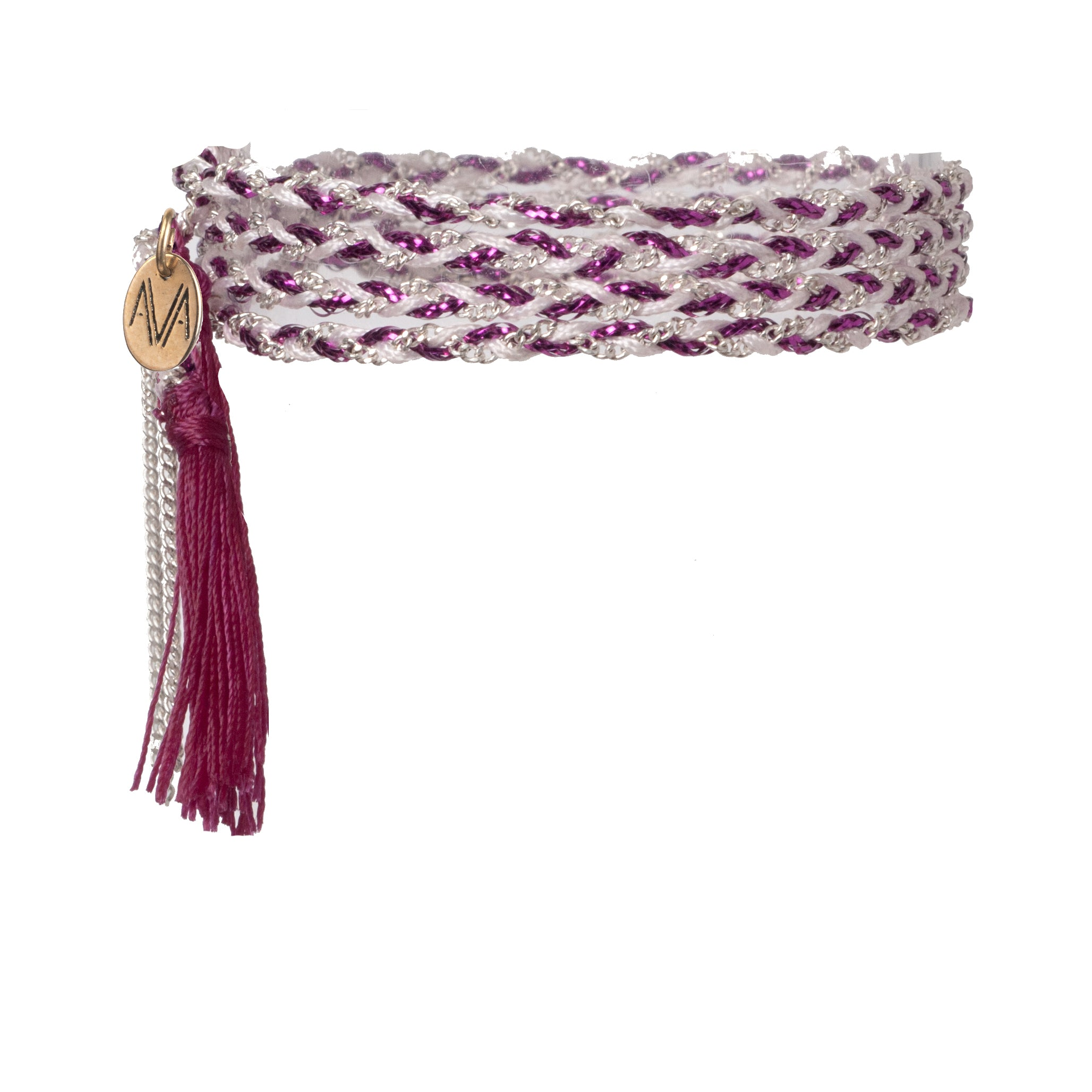 wrap bracelet made of Nylon, Lurex, nickel free chain, completed by a lilac tassel