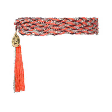 wrap bracelet made of Nylon, Lurex, nickel free chain, completed by a coral tassel