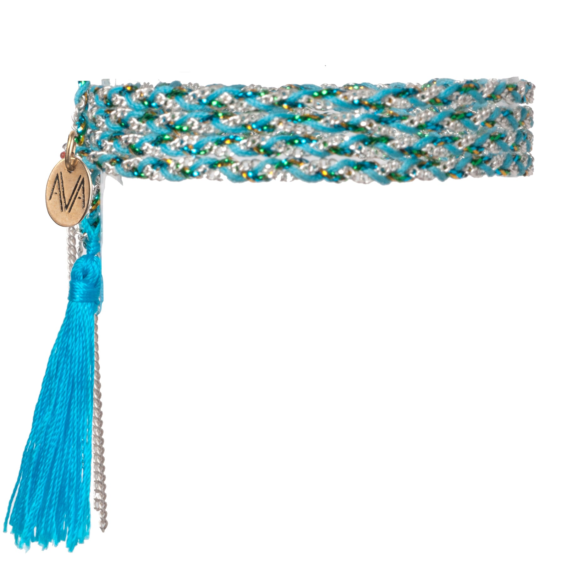 wrap bracelet made of Nylon, Lurex, nickel free chain, completed by an aqua tassel