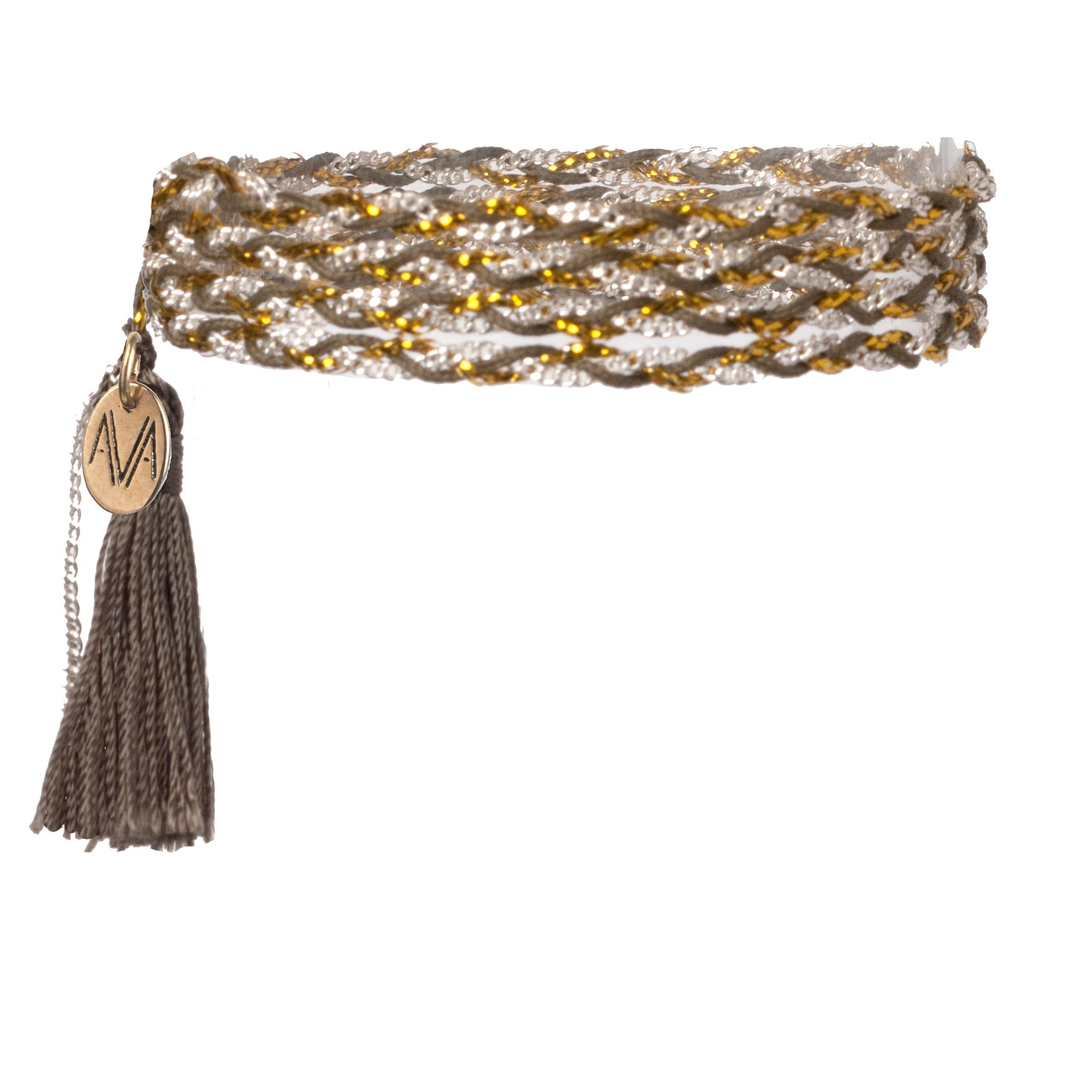 wrap bracelet made of Nylon, Lurex, nickel free chain, completed by a khaki tassel