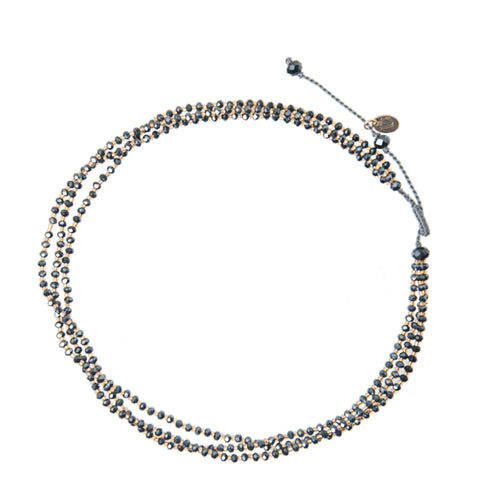 Adjustable Choker made of ranges of crystal beads dark grey