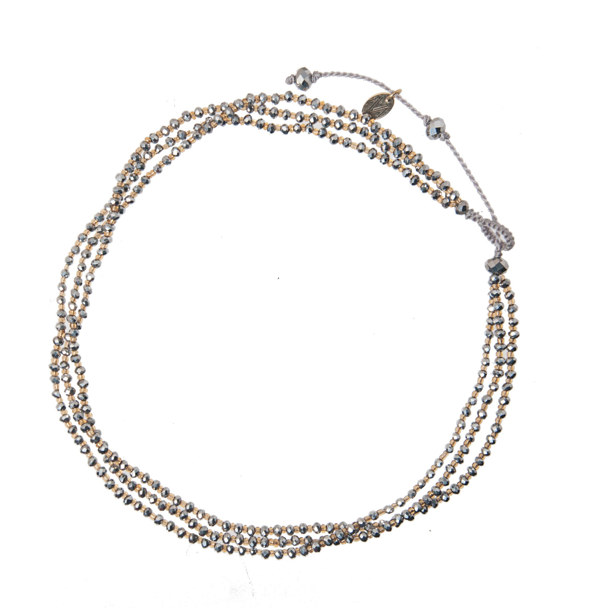 Adjustable Choker made of ranges of crystal beads silver