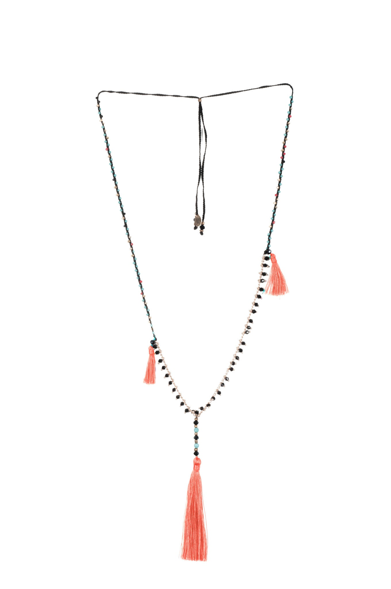 Coral Adjustable Necklace made of delicate crystal pearls, Copper chain completed by three vibrant nylon tassels