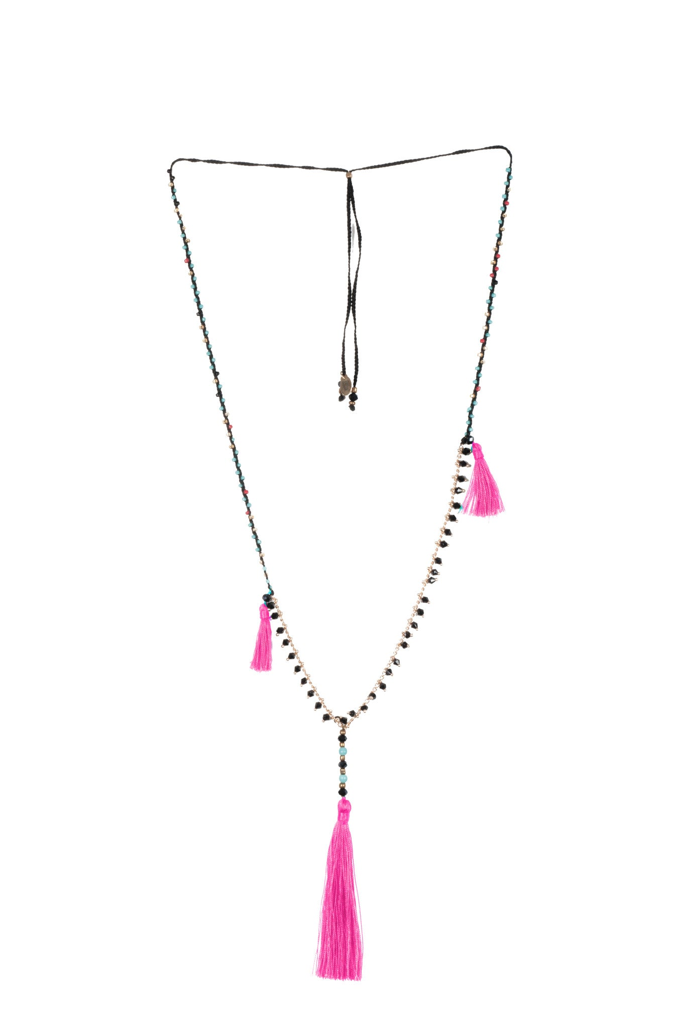 Neon Pink Adjustable Necklace made of delicate crystal pearls, Copper chain completed by three vibrant nylon tassels