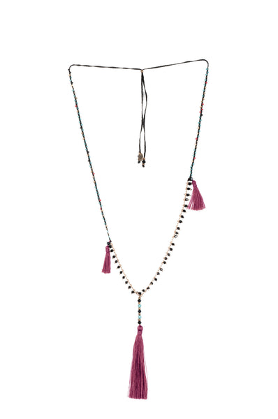 Burgundy Adjustable Necklace made of delicate crystal pearls, Copper chain completed by three vibrant nylon tassels